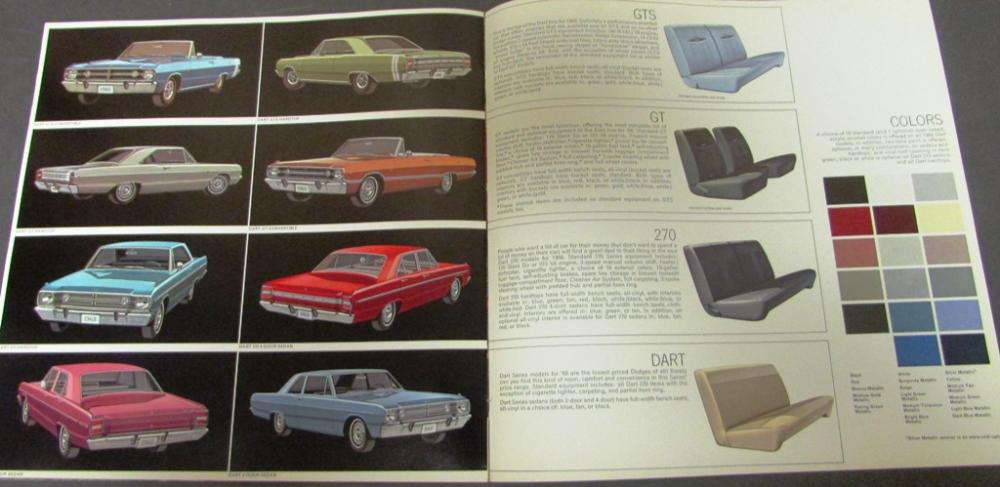 Great Auto Sales >> Original 1968 Dodge Dart GTS GT 270 Sales Brochure Color 340 Mopar A Body