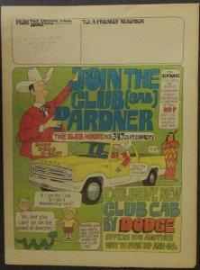 1973 Dodge Club Cab Pickup Truck Comic Style Newsprint Sales Brochure