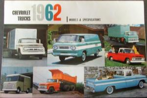 1962 Chevrolet Truck Full Line Pickup Models Specifications Sales Brochure