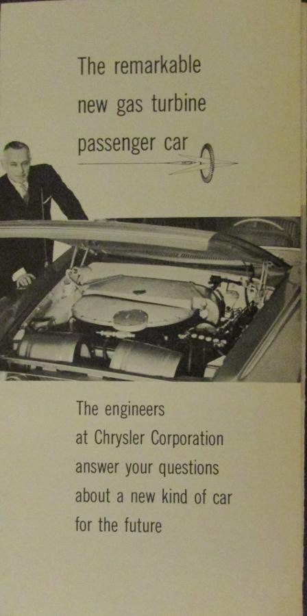 1962 Chrysler Gas Turbine Passenger Car Dodge Turbo Dart Sales Brochure Folder