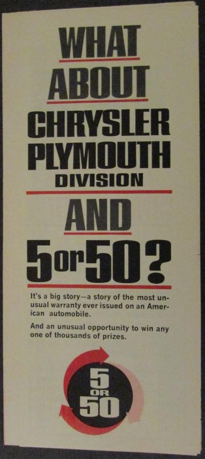 1963 Chrysler Plymouth Warranty Sales Brochure Leaflet Sweepstakes Original