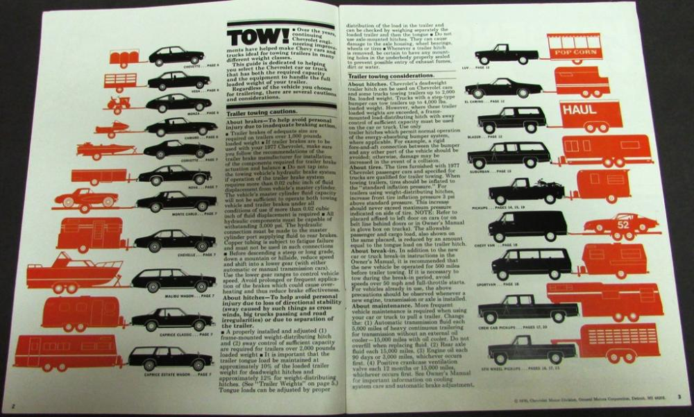 1977 chevy trailering car truck towing guide sales brochure original rh autopaper com chevy towing guide 2015 chevy towing guide 2017