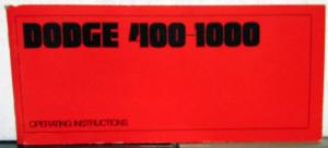 1969 Dodge Med HD Truck 400 - 1000 Owners Manual Instructions Original