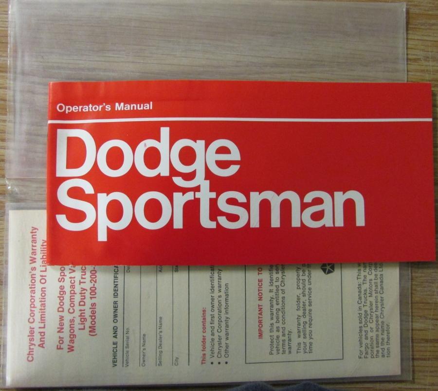 1973 dodge sportsman truck wagon van owners manual instructions original publicscrutiny Image collections