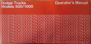 1974 Dodge Trucks 500 / 1000 Owners Manual Instructions Original