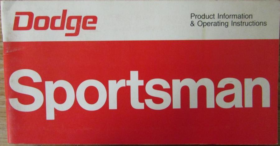 1976 dodge sportsman wagon van truck operators owners manual original rh autopaper com 1974 dodge sportsman motorhome manual dodge sportsman service manual