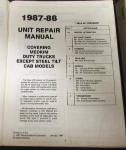 1987 Chevrolet Dealer Service Shop Manual Set Medium Duty Truck Repair