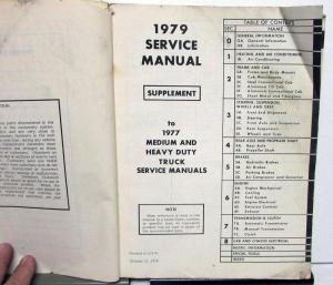Original 1979 Chevrolet Dealer Truck Service Manual Supplement Medium H/D 40-95