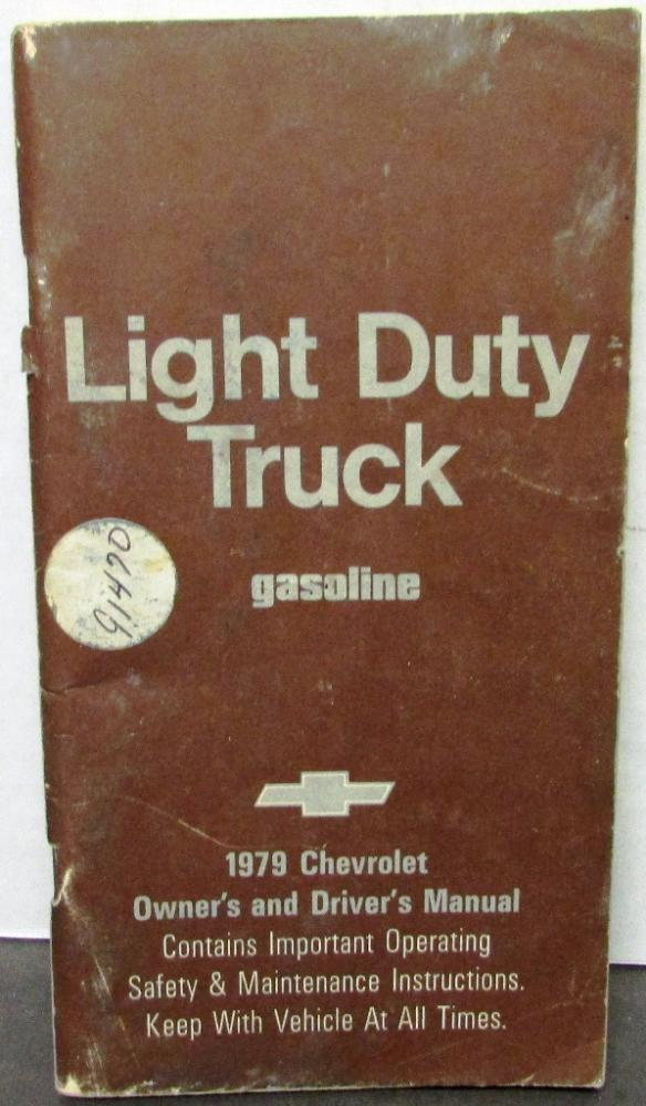 1979 Chevrolet Light Duty Truck Owners Drivers Manual Pickup Van Maintenance