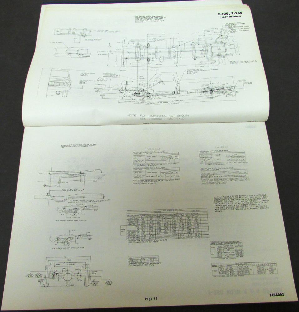 1974 Ford Truck Body Builders Layout Book Bronco Pickup
