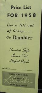 Original Price List for 1958 Rambler New England Area Boston Sales District