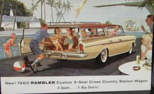 1960 AMC Rambler Cross Country Station Wagon Color Post Card Original