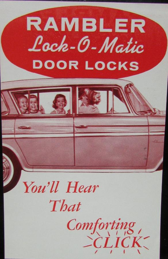 1960 AMC Rambler Lock O Matic Door Locks Sales Brochure Sheet Original