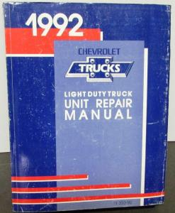 1992 Chevrolet Truck Dealer Unit Repair Service Shop Manual Light Duty Pickup