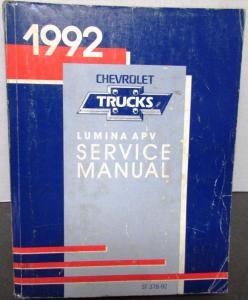 1992 Chevrolet Truck Dealer Service Shop Manual Lumina APV Mini-Van Repair