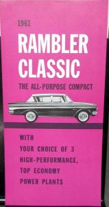 NOS 1961 AMC Rambler Classic Power Plant Engines Sales Brochure Original
