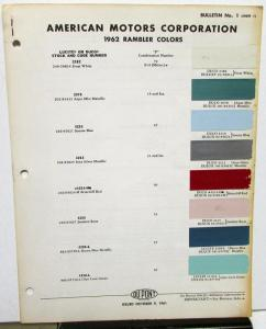 1962 AMC Rambler Colors Paint Chips by Dupont Original