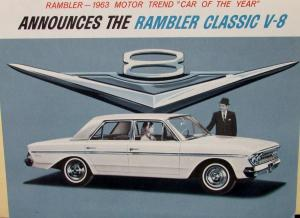 NOS 1963 AMC Rambler Classic V8 Motor Trend Car of the Year Color Sales Brochure