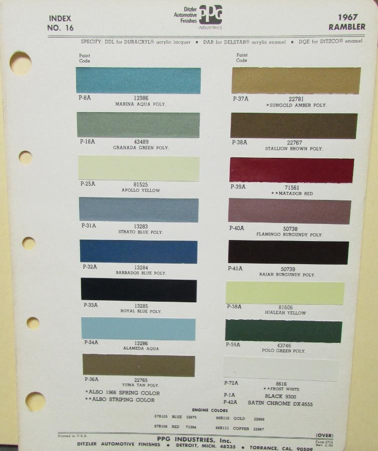 1967 american motors amc rambler paint chips by ppg. Black Bedroom Furniture Sets. Home Design Ideas