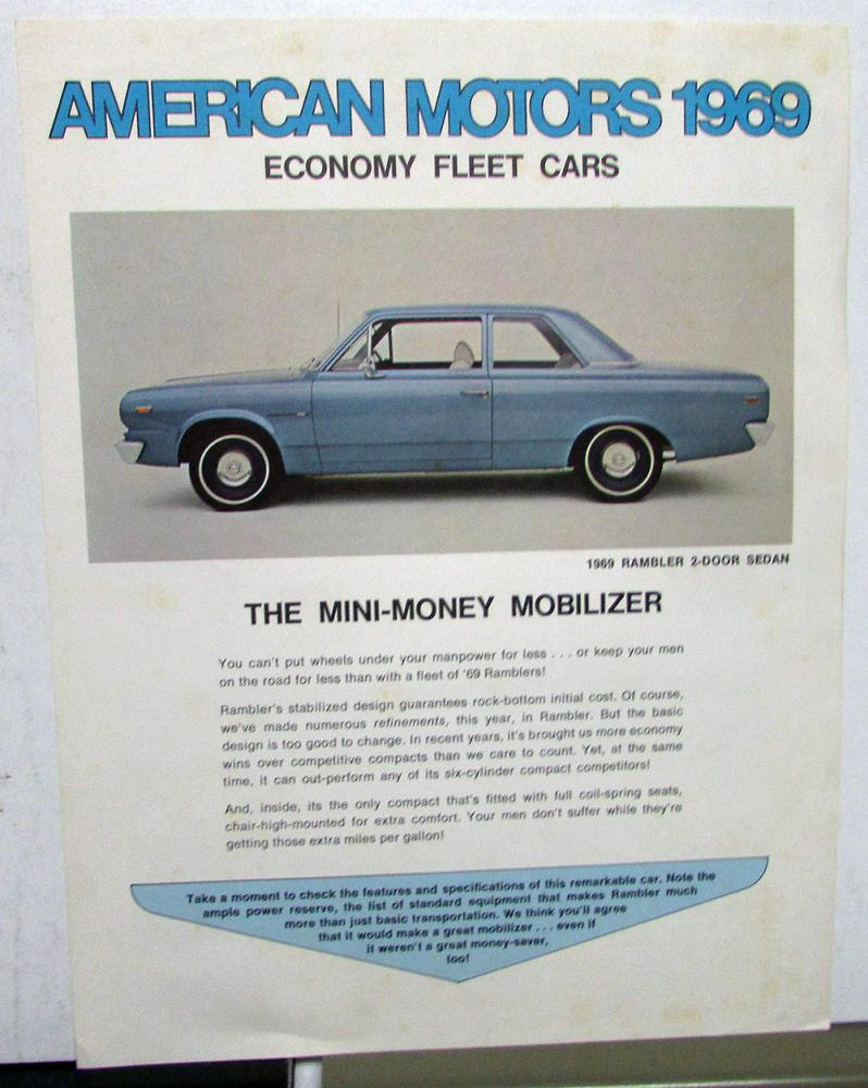 1969 American Motors Economy Fleet Cars Sales Brochure Sheet Original