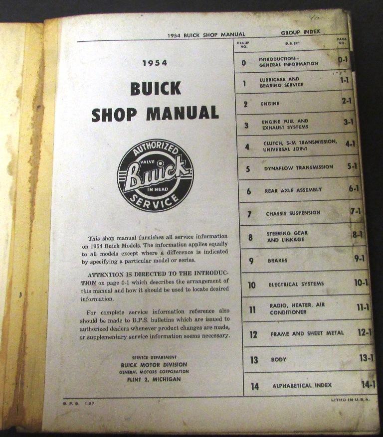 Original 1954 Buick Service Shop Manual Special Century ...