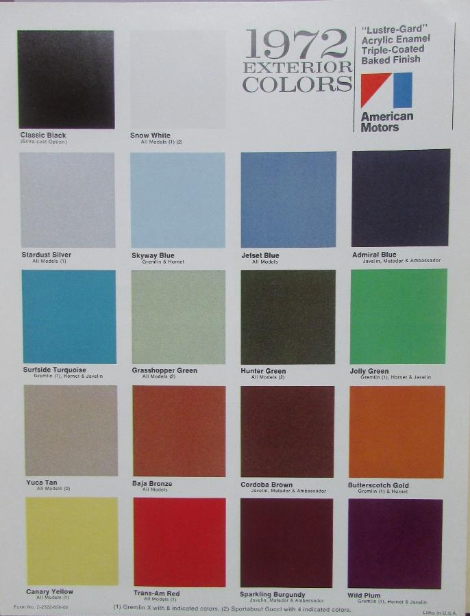 NOS 1972 American Motors Exterior Color Chart Sales Brochure