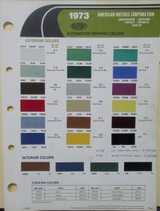 1973 American Motors Dupont Color Paint Chips Original