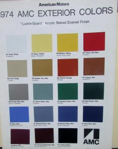 1974 American Motors Exterior Color Paint Chips Chart Sales Brochure