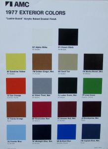 NOS 1977 AMC Exterior Color Paint Chips Original