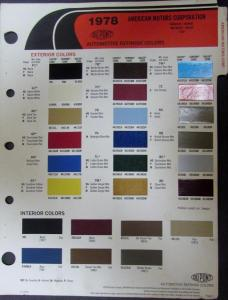 1978 AMC Dupont Paint Chips for Gremlin Hornet Matador Pacer & Jeep