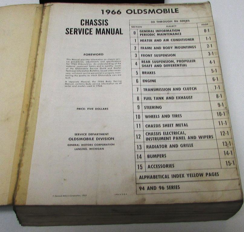 original 1966 oldsmobile service shop manual 442 cutlass. Black Bedroom Furniture Sets. Home Design Ideas