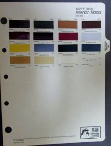 1982 Exterior American Motors and Jeep Original Paint Chips