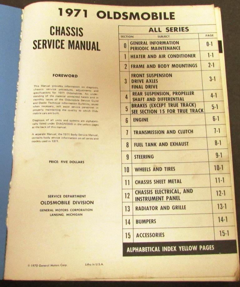 original 1971 oldsmobile service shop manual cutlass f85. Black Bedroom Furniture Sets. Home Design Ideas