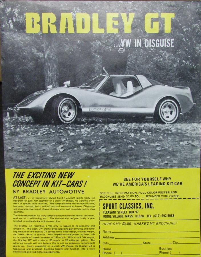 1971 1972 1973 1974 1975 1976 ? Bradley GT VW Kit Car Sales Brochure ...