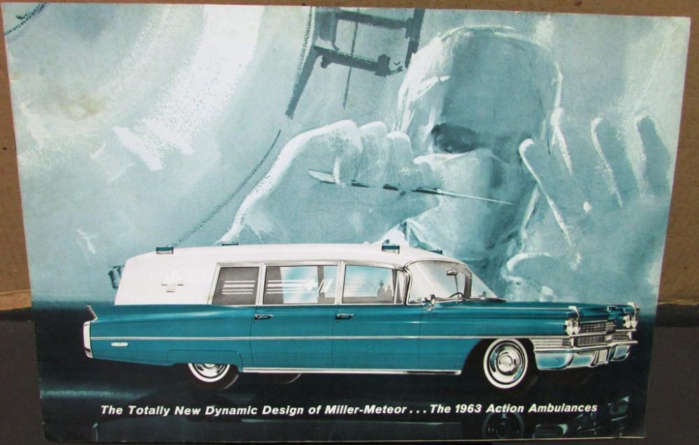 Original 1963 cadillac ambulance miller meteor dealer sales brochure