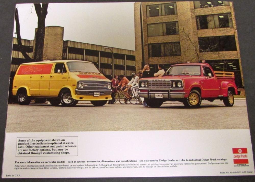 Original 1977 Dodge Truck Dealer Sales Brochure Street Van ...