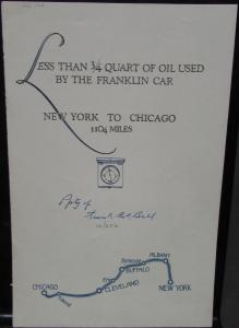 1924 Franklin Car New York to Chicago Road Trip Sales Brochure Original