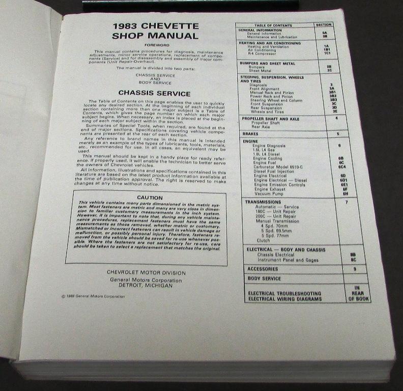 1983 chevrolet dealer service shop manual chevette chassis body chevy repair