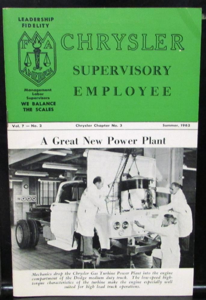 1962 Chrysler Supervisory Employee Magazine Vol 7 No 2 Gas Turbine Truck