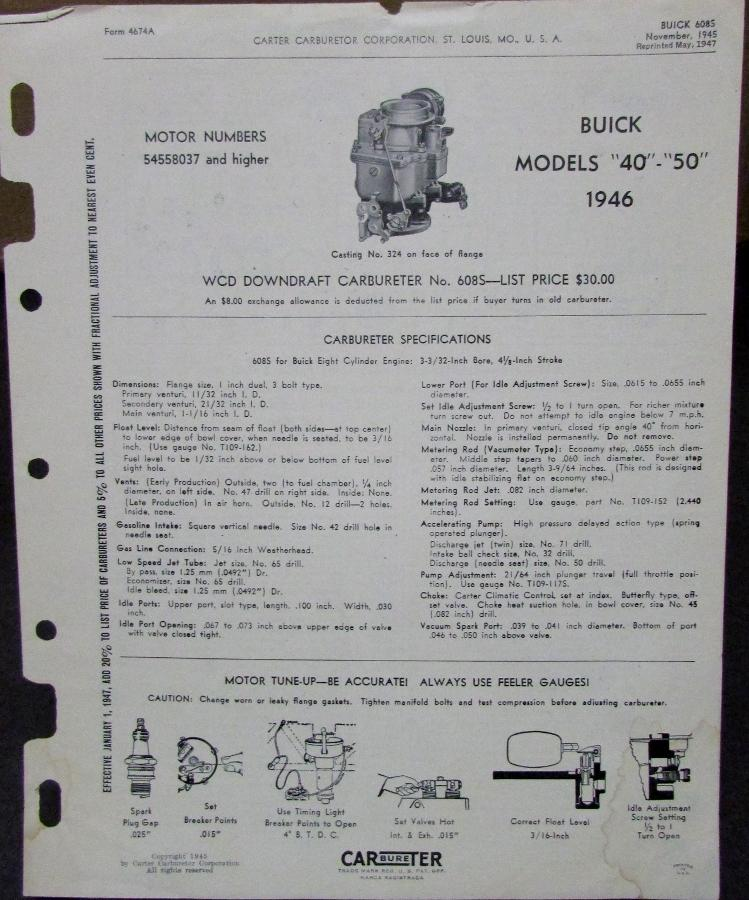 Tune Up Parts List : Buick models carbureter specs parts list