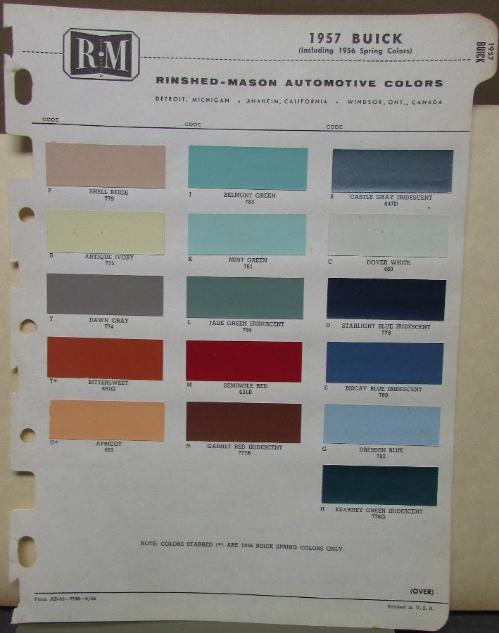 1957 Buick Color Paint Chips By Rinshed Mason Co Original