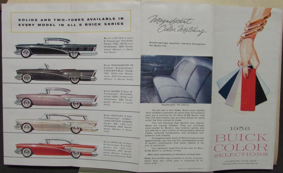 1958 Buick Color Paint Chips Sales Brochure Folder Original