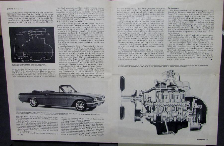 1962 Buick V6 Car Life Auto Magazine Nov 1961 Article Reprint Sales ...