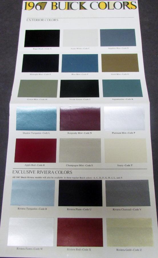 1967 buick full line color paint chips sales brochure original nice