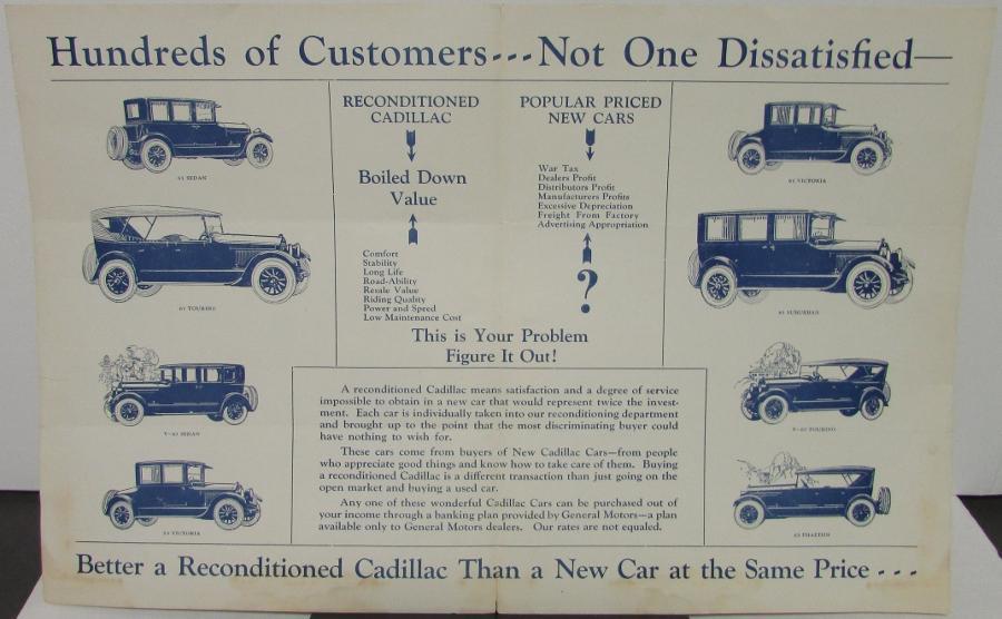 1927 Cadillac Bulletin Guide for Used Car Buyer Original Sales ...