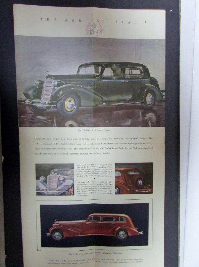 1934 Cadillac V8 V12 V16 Color Original Sales Brochure