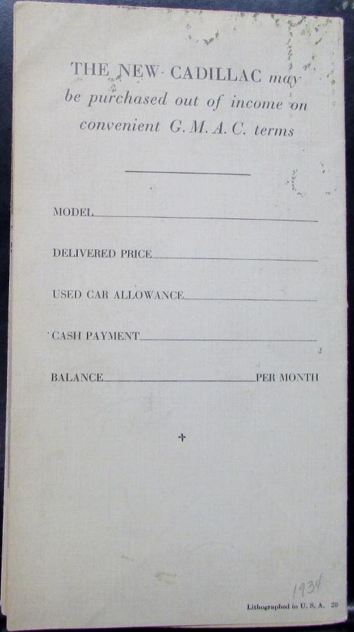 1934 Cadillac V8 V12 V16 Color Original Sales Brochure