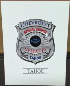 2001 Chevrolet Tahoe Police Package Dealer Sales Brochure Fleet Special Service