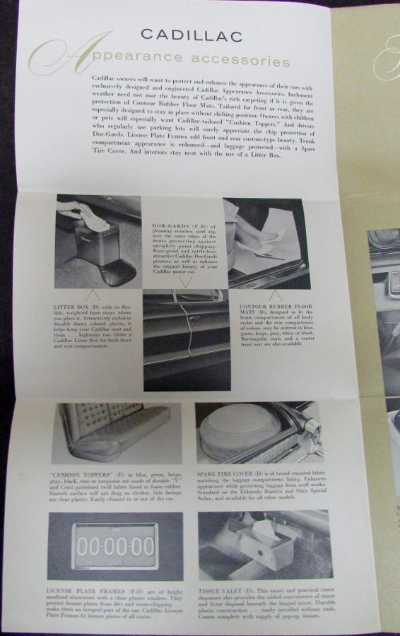 1962 Cadillac Accessories Sales Brochure Folder Original