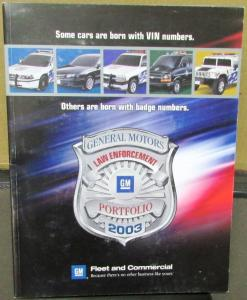 2003 GM Law Enforcement Portfolio Dealer Sales Brochure Police Fleet Packages